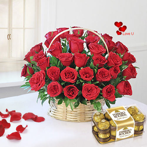 Buy Red Roses Basket N Ferrero Rocher Chocolates Online