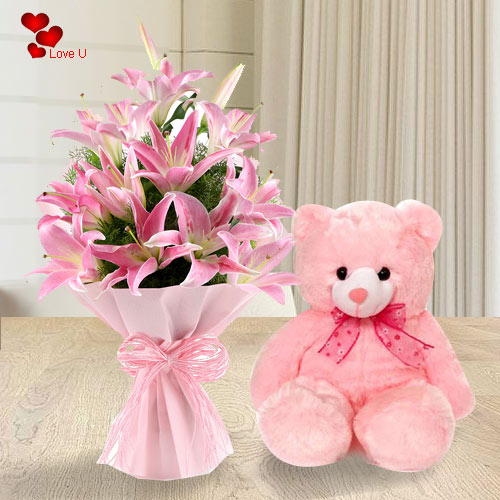 Book Pink Lilies Bouquet N Teddy Online