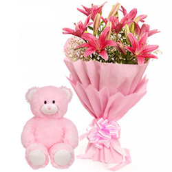 Hand Bunch of Pink Lilies with a small Teddy