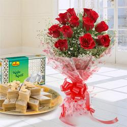 Modern Love Special Dual Pack of 12 Red Roses Bouquet and Kaju Katli 250 Gms.