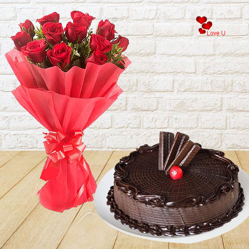 Book Online Chocolate Cake N Red Roses Bouquet