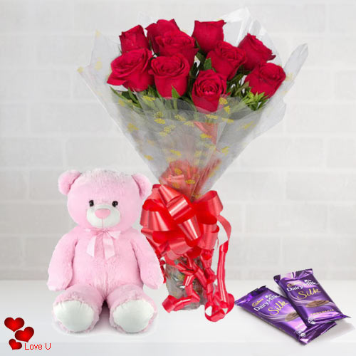 Deliver Red Roses Bouquet, Teddy N Chocolates for V-Day