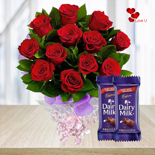 Rose Day Combo of Red Roses with Dairy Milk Chocolates