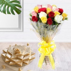 Charming assorted Roses with delicious Kaju Barfi delight
