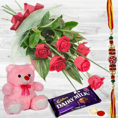 Red Rose Bunch with Teddy and Chocolates