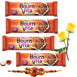 Bournvita Chocolate Cookies with 1 Rakhi with Two Yellow Rose