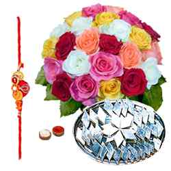 Exciting Kaju Katli and 24 Mixed Roses Bouquet