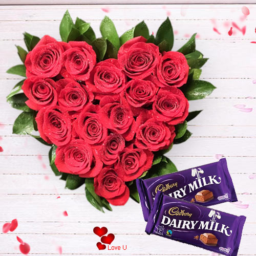 V-Day Gift of Heart Shape Rose Arrangement with Dairy Milk