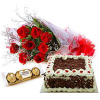 Fresh Red Rose Bouquet with Ferrero Roacher Chocolate and Delicious Cake