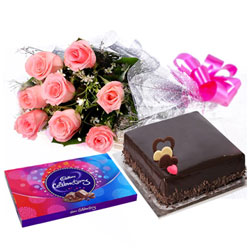 Sweetest of all Arrangement of Pink Roses, Cake and Cadbury Celebration