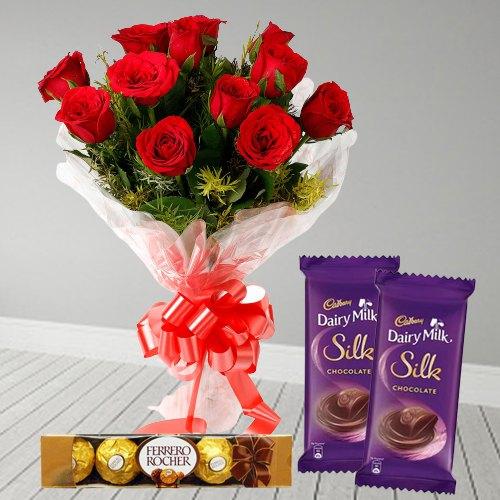 Sweetness of Trio Dairy Milk Silk, Ferrero Roacher, and Red Rose Bouquet