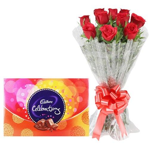 Impressive Red Roses Bouquet with Cadbury Celebration Combo
