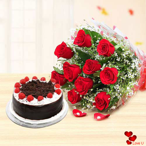 V-Day Surprise Red Roses Bouquet N Black Forest Cake