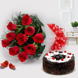 Dramatic Bunch of Red Roses with Black Forest Cake Pleasure