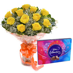 Delicious Cadbury Celebration and Yellow Rose Bouquet