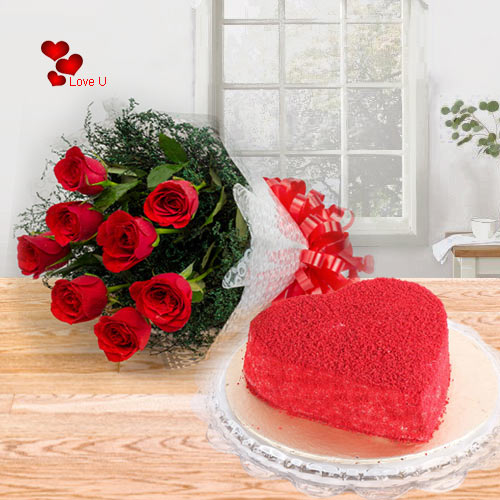 Combo of Heart Shape Red Velvet Cake with Red Rose Bouquet