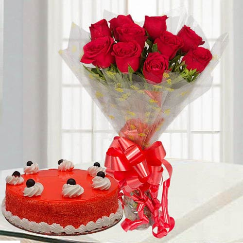 Florists Choice Red Rose Bouquet with Bakery-Fresh Red Velvet Cake