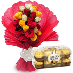 Order Combo of Ferrero Rocher and Mixed Roses Online