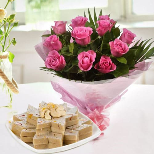 Online Gift of Pink Roses with Kaju Katli
