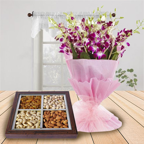 Stunning Combo of Orchids Bouquet and Dry Fruits