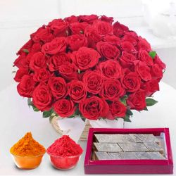Astounding Red Roses with yummy Kaju Barfi