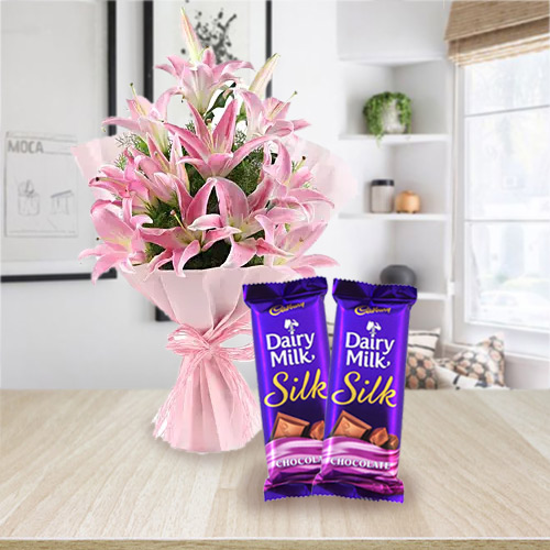 Send Dairy Milk Silk and Pink Lilies Bouquet Online