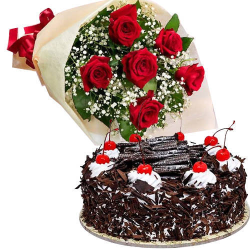 Order Black Forest Cake with Red Roses Bouquet Online