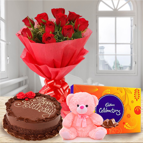 Buy Online Red Roses Bouquet with Small Teddy, Chocolate Cake N Cadbury Celebration
