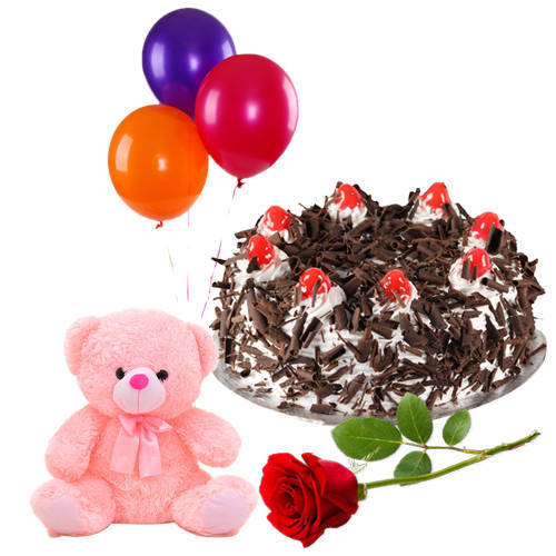 Online Combo of Red Rose with Black Forest Cake, Teddy N Balloons