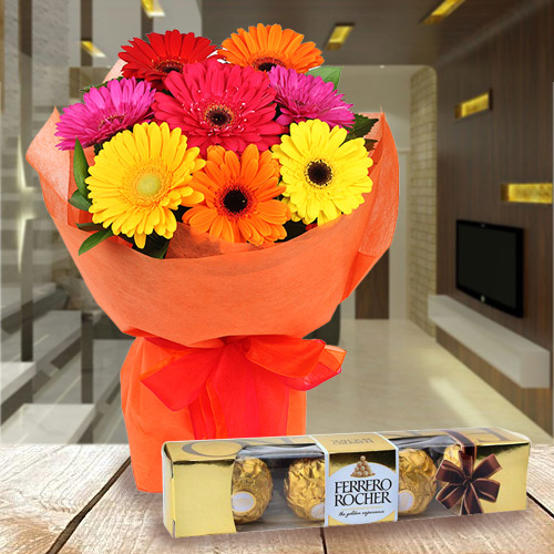 Send Combo of Gerbera Bouquet N Ferrero Rocher Bouquet Online