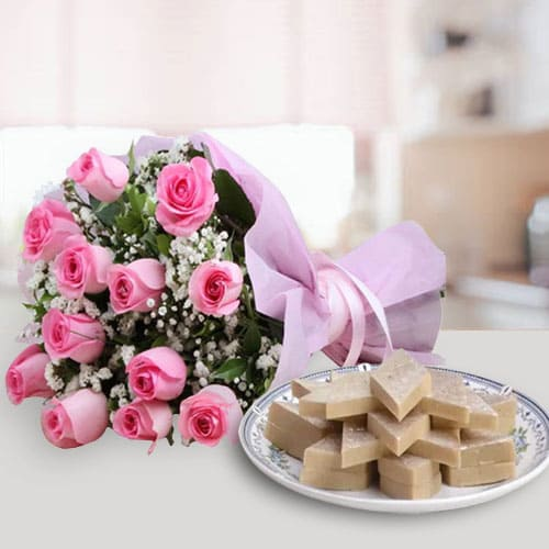 Lovely Pink Roses with Cut-out Kaju Katli