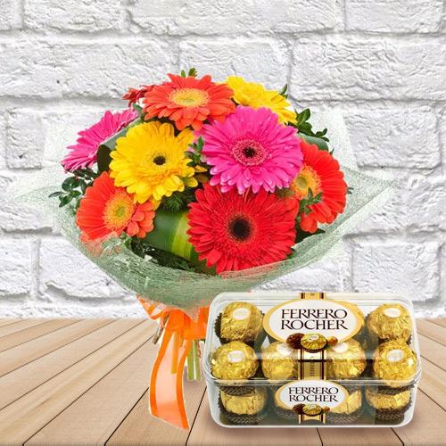 Amazing Combo of Mixed Gerbera Bouquet and Ferrero Rocher Chcocolates
