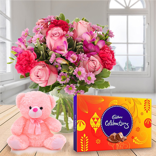Anniversary Romantic Trio Pack of Cadbury Celebration, Mixed Flower in a Vase and Small Teddy