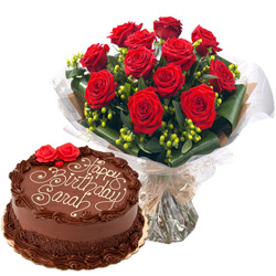 Online Combo of Red Roses Bouquet N Chocolate Cake