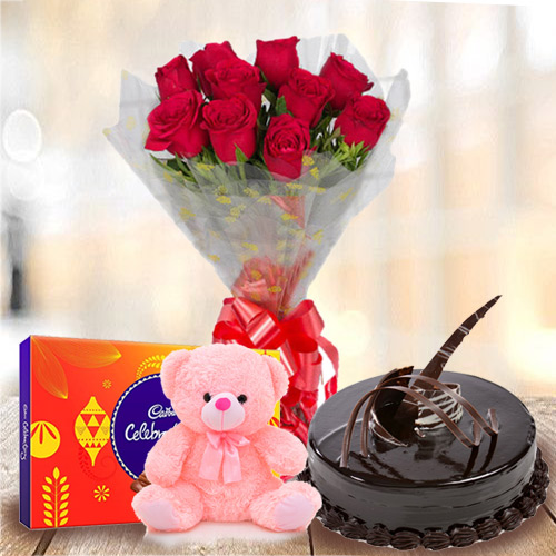 Send Online Red Roses Bouquet with Cake, Teddy N Cadbury Celebration Pack