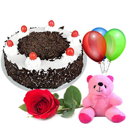 Book Black Forest Cake with Teddy, Red Rose N Balloons Online