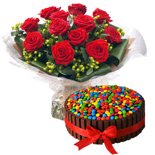 Shop Red Roses Bouquet with Kitkat Cake Online