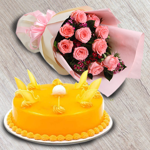 Online Combo Gift of Red Roses Bouquet N Mango Flavour Cake Online