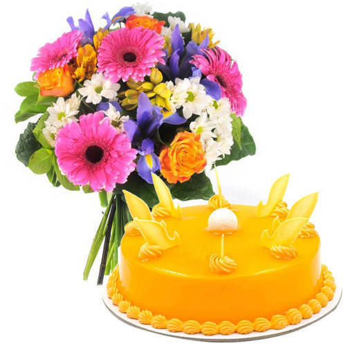 Online Order Mixed Flowers Bouquet with Mango Cake