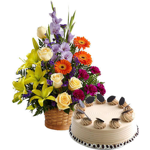 Buy Online Arrangement of Mixed Flowers with Coffee Cake
