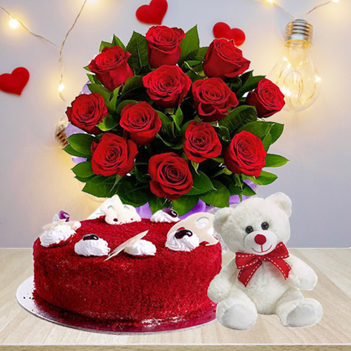 Order Combo of Red Velvet Cake with Teddy N Red Roses Bouquet Online