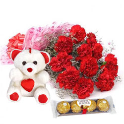 Charming Bouquet of Carnations with Teddy N Ferrero Rocher
