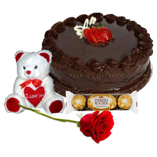 Order Red Rose with Chocolate Cake, Ferrero Rocher N Teddy Online