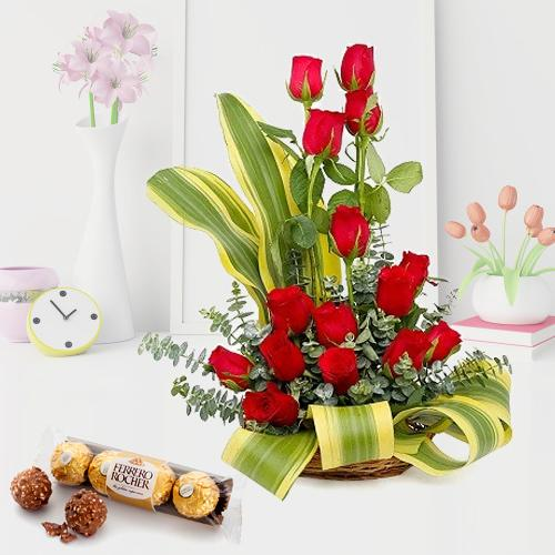Special Surprise Arrangement of Red Roses with Ferrero Rocher