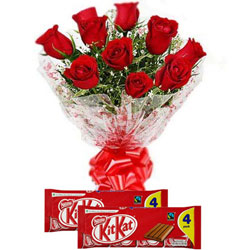 Yummy Nestle Kit Kat with Radiant Red Roses Bouquet