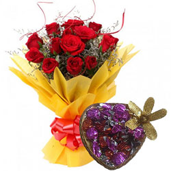 Special Heart-Shape Handmade Chocolate with Red Roses Bouquet