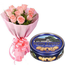 Bite-Size Danish Butter Cookies with Pink Roses Bouquet
