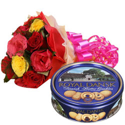 Smooth Danish Butter Cookie with Mixed Roses Bouquet