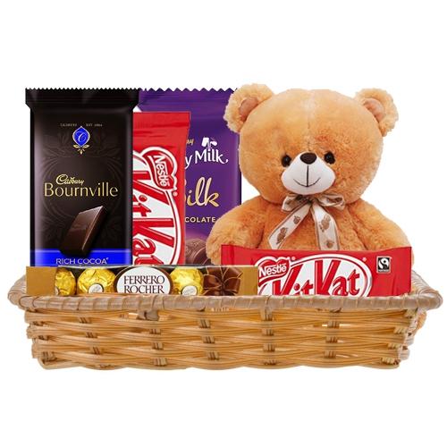 Basket of Delightful Chocolates with Teddy