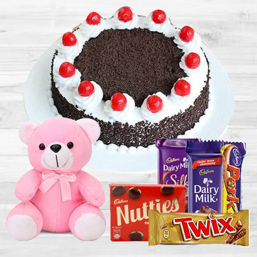 Deliver Assorted Cadbury Chocolate with Teddy N Black Forest Cake
